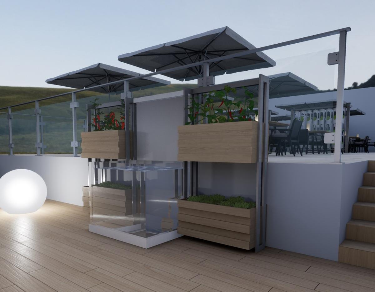 Ponics. Impianto di design indoor. Per interni, ristoranti bar e cucina.